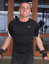 Happy client of outdoor group personal training with personal trainer at Real Results Fitness Training Oatley Sydney