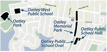 Fitness training locations in Oatley Memorial Park and Oatley Park