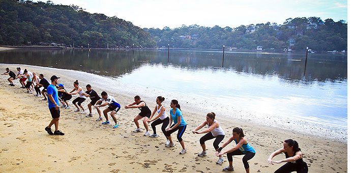 Outdoor group personal training with personal trainer at Real Results Fitness Training Oatley Sydney
